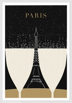 Illustration, Paris Print , Eiffel Tower Drawing - 13x19 Art Print, Art Poster, Paris Illustration, Black and Gold, Dorm Decor on Etsy, $24.00