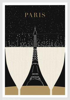 Illustration, Paris Print , Eiffel Tower Drawing - 13x19 Art Print, Art Poster, Paris Illustration, Black and Gold, Dorm Decor on Etsy, $24.00