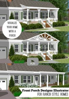 Exceptional Great Front Porch Designs Illustrator On A Basic Ranch Home Design