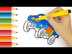 Step by step draw easy How to drawing and coloring Off road Vehicle Smar. Only Child, English Alphabet, Learning Colors, Step By Step Drawing, Coloring For Kids, Learn English, Easy Drawings, Disney Characters, Fictional Characters