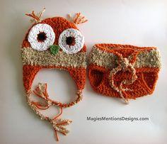 Halloween Autumn Crochet Owl Ear flap Beanie Cap Hat with Diaper Cover NewBorn Infant Handmade Great for Photo Prop $28.00