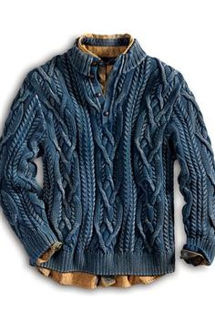 Cumulonimbus Indigo Cable Mockneck Sweater: The most luxurious indigo sweater you'll ever wear! True indigo dyes are used to create a vintage look that also feels cozy from day one. An exemplary fisherman's cable design covers both sides with ribbing at the neck, hem and cuffs.