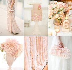 simple table number! it would look even better if it were all sparkly! Blush and Gold Wedding Inspiration
