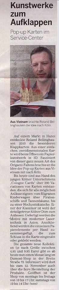 Pop-Up Karten - filigrane Papierkunst in 3D Seit gestern stellen wir unsere Karten im #DuMontServiceCenter aus. Auch die #KölnischeRundschau hat am Samstag darüber berichtet. Anbei der Artikel und einige erste Impressionen. Noch bis zum 12. November könnt Ihr unsere neuen Kartendesigns im Sevice Center auf der Breite Straße entdecken. Schaut doch mal vorbei! ;)  #PopUpKarten #CologneCards #Ausstellung #DuMont #Köln