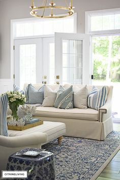 SUMMER LIVING ROOM TOUR WITH BLUE + WHITE : Bright and airy summer decorated living room featuring layered pillows with stripes and a light blue and white color palette for an elegant yet relaxed coastal theme. Coastal Living Rooms, Home Living Room, Living Room Furniture, Living Room Designs, Rustic Furniture, Cozy Living, Outdoor Furniture, Antique Furniture, Furniture Projects