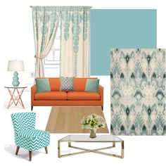 Aqua and Orange-living room color combo perhaps