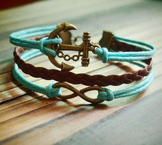 Infinity Wish & Anchor Charm Bracelet in Bronze--Mint Green Wax Cords Brown Braided Leather Bracelet-Personalized Friendship Jewelry