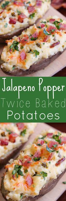 Jalapeno Popper Twice Baked Potatoes - Loaded with cream cheese, jalapeños, bacon and cheese.