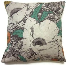 Two Teal Gray Tangerine Black Pillow Covers by LynnesThisandThat