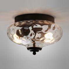 Modern Farmhouse Flush Mount Ceiling Light with Hammer Glass Shade Crystal Ceiling Light, Glass Ceiling Lights, Flush Mount Ceiling, Ceiling Lamp, Ceiling Lighting, Light Fixtures Bedroom Ceiling, Kitchen Lighting Fixtures, Porch Lighting, House Lighting