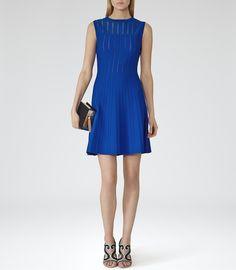 Reiss Kama Women's Jewel Blue Sheer-stripe Dress