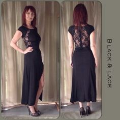 TO SHARE OR NOT TO SHEER NEW BLACK DRESS WITH LACE This dress is not for the shy person who does not want to be noticed! The dress has a back zipper, lace insert at the top back & front slit that goes for days!  I was reluctant to model because of the sheer fabric but decided to show how it a actually looks in terms of what you can see..its a lot!  Wearing a bra would be a challenge and take away from the subtle nature of the dress lolol!! This fits size xs-s best! Dresses Midi