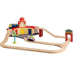 This 32-piece set features a roundhouse with an over-the-top track layout...
