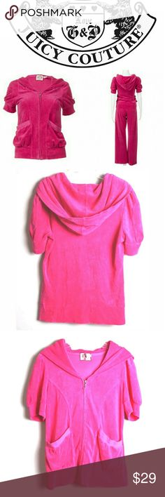 """Juicy Couture velour pink hoodie short sleeve Throw on this super soft terry hoodie for a stylish look and comfortable fit. Features puff short sleeves for a fashionable style. Perfect for sleep, lounge and casual wear. Pre-loved No rips, stains or tears Size tag is torn Size: medium  Measurements: Length: 23"""" Armpit To armpit: 17.5""""  Thanks for your interest. Please check out my closet for other items. If you have any questions just let me know. Reasonable offers are welcome :) Juicy…"""