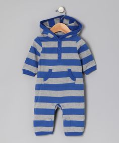 Look at this #zulilyfind! Leveret Royal Blue & Gray Stripe Hooded Playsuit - Infant by Leveret #zulilyfinds
