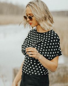 polka dot top / outfit