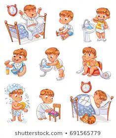 Cartoon kid daily routine activities set vector image on VectorStock Kids Vector, Cat Vector, Vector Free, Daily Routine Kids, Daily Routine Activities, Autism Learning, Concept Art Gallery, Kids Background, Kids Schedule