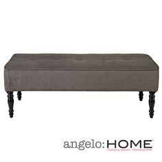 @Overstock.com - angelo:HOME Brighton Hill Parisian Smoky Gray Velvet Large Bench - $143.09 48x17