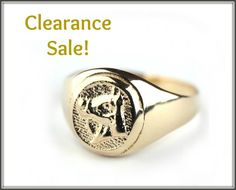 CLEARANCE SALE, US Size 4.75, Signet ring, Horse Imprint, 14K Gold plated Seal ring, Unisex ring - Men's Ring, Women's Ring, Statement ring