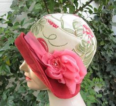 1920s Cloche Fashion Hat: Made from  damask upholstery fabric with a botanical print / Vintage Style Hats by Gail