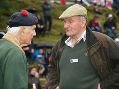 Glenisla Highland Games, Lord Airlie the Clan Chief of the Ogilvys,  talking to a participant.