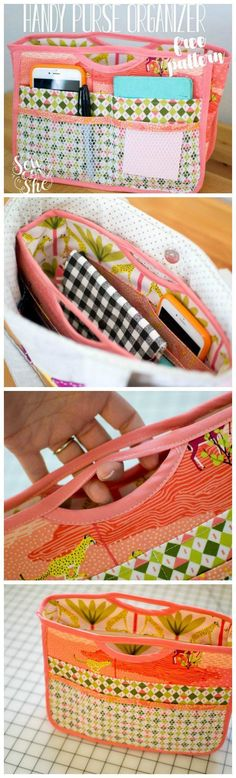 Free sewing pattern for this smart purse organizer. I love u Free sewing pattern for this smart purse organizer. Sewing Hacks, Sewing Tutorials, Sewing Crafts, Sewing Tips, Sewing Ideas, Bag Tutorials, Sewing Basics, Tape Crafts, Diy Crafts