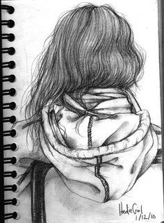 girl in hoodie drawing - Google Search
