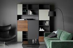 Green Napoli Cenova;  Copenhagen wall system; Imola armchair;