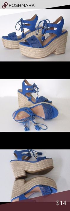 """NWOT wedged sandals! Restricted espadrille wedge platforms! 4"""" wedge, all man made materials, ankle-lace tassels. Super cute and comfortable, New without Tags Restricted Shoes Wedges"""