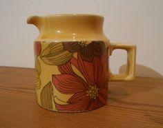 Mid Century Jug. Surrey Ceramics Jug. Retro Mustard Yellow Flower Jug. Half Pint Jug. by CollecticFinds on Etsy