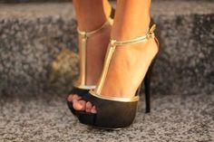 black and gold t-strap platform stilettos Prom Heels, Sexy Heels, Stiletto Heels, High Heels, Gold Heels, Black Heels, Classy Heels, Platform Stilettos, Stylish Clothes
