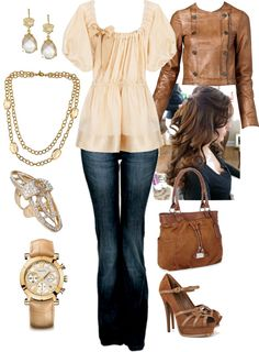 """""""Peaches/Brown"""" by manda3482 on Polyvore"""