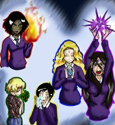 These are the characters of the House of Night series of books by PC Cast and her daughter. i was super bored one day on vacation, and having only a HoN. House of Night Characters Vampires, House Of Night Books, Fan Art, Gone Series, Night Novel, Fifth Element, Colorful Wallpaper, Book Nerd, Book Worms