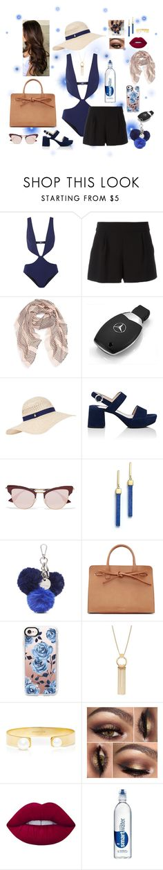 """Dip In The Pool"" by isabel32297 ❤ liked on Polyvore featuring FELLA, Boutique Moschino, Sole Society, Mercedes-Benz, Accessorize, Prada, Le Specs, Mateo, Nine West and Mansur Gavriel"
