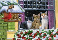 Kittens cats birds chipmunk feeder window winter snow original aceo painting art #Realism
