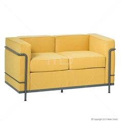 Le Corbusier LC2 2-Seater Sofa - Fabric - Yellow - Replica - Milan Direct