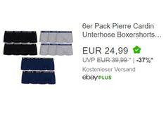 """Pierre Cardin: Sechserpack Boxershorts für 24,99 Euro frei Haus https://www.discountfan.de/artikel/klamotten_&_schuhe/pierre-cardin-sechserpack-boxershorts-fuer-2499-euro-frei-haus.php Ein Sechserpack Boxershorts von Pierre Cardin ist jetzt bei Ebay als """"Wow! des Tages"""" für 24,99 Euro frei Haus zu haben. Verfügbar sind vier Größen und drei Farben. Pierre Cardin: Sechserpack Boxershorts für 24,99 Euro frei Haus (Bild: Ebay.de) Das Sechserpack Boxershorts f�"""
