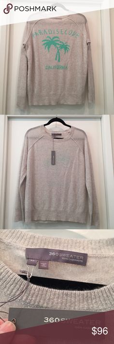 """100% Cashmere """"Paradise Cove California"""" Sweater NWT! Luxurious and fun! 100% Cashmere sweater by 360 Sweater. Sure to get lots of compliments! Almost as versatile as a sweatshirt - with jeans, yoga pants, denim shorts!!! 360 Sweater Sweaters Crew & Scoop Necks"""
