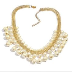 Simulated pearl statement necklace gold tone NWT *Like and tag to be notified. Will arrive by 1/22/16 (1 available).   Glamorous statement necklace! Simulated pearls in gold tone. Perfect for your next event! NWT Retail. MSRP 69.99 Boutique Jewelry Necklaces