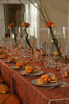 Flower Theme - Orange Centerpiece + Table Setting