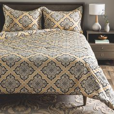 The Atlas Collection Ornamental Comforter Set by Andrew Charles is sure to inspire you with its refined aesthetic, its graceful curves and scrollwork design that create a soft and lovely understated look on this ensemble.