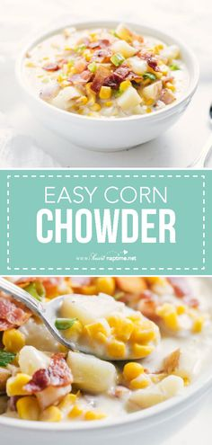 Corn Chowder - A comforting and delicious corn chowder recipe packed with corn potatoes and bacon. Full of flavor and simple to make. This corn chowder soup is perfect for fall or winter! Easy Corn Chowder, Potato Corn Chowder, Chicken Corn Chowder, Corn Chowder With Bacon, Corn Soup, Best Soup Recipes, Chowder Recipes, Healthy Soup Recipes, Cooking Recipes
