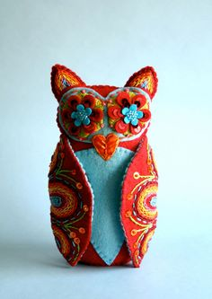 Owl Doll- Embroidered Felt- Mexican Folk Art, I am in awe of the skill that went into this piece. Admit it, this is cool! Would look great on my shelf...
