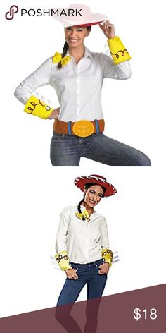 """Jessie Costume Kit - Toy Story 3 Jessie Costume Kit - Toy Story 3  Saddle up and ride off into the sunset with Woody or Buzz or both when you create your Toy Story 3 Jessie costume with this officially licensed Accessory Kit.  The officially licensed Toy Story 3 Jessie accessory kit consists of a character cowboy hat, cuffs, belt and bow. Length of hat:  16"""" Fits head up to 8.5"""" x 7.5"""" Other"""