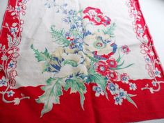 Vintage Colorful Linen Tea Towel Material Red, Blue, Green , Ivory Flowers via Orphaned Treasures Etsy