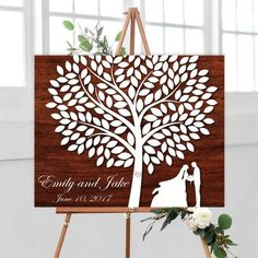 Wooden Signature Tree with couple silhouette, Rustic Wedding Guestbook Alternative, Wedding Signature Tree, Wedding Guest book Alternative Canvas
