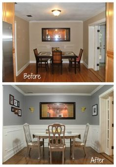Dining Room Before and After, love the colors of this room plus the dimension in the ceiling with paint!  Much nicer, brighter and still warm