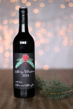 Set of FOUR Christmas Wine Labels Personalized by StickEmUpLabels #christmas #gift #idea