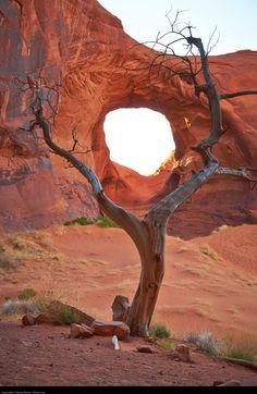Sacred Navajo eye in the desert of Arizona, Monument Valley Navajo tribal park