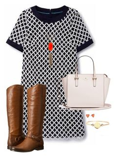 """""""Black and Orange"""" by hayley-tennis ❤ liked on Polyvore featuring Boden, Kendra Scott and Frye"""